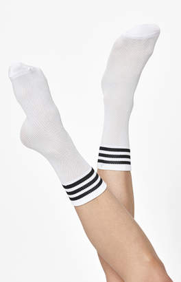 adidas White & Black Mesh Ankle Socks