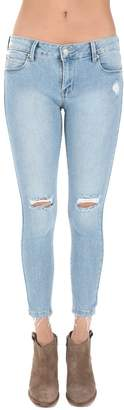 Just USA Women's Knee Cut Stretch Ankle Skinny Jeans Light