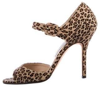 Manolo Blahnik Suede Ankle-Strap Sandals