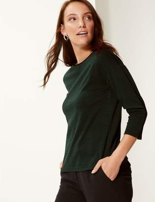 Marks and Spencer Checked Slash Neck 3/4 Sleeve Top