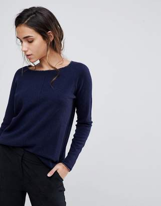 Sisley Boxy Knit Sweater With Cashmere Blend