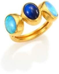 Gurhan Amulet Hue Opal, Blue Moonstone& 24K Yellow Gold Ring