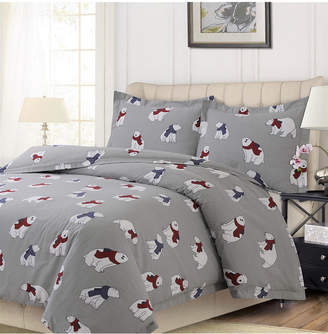 Tribeca Living Polar Bear Printed Heavyweight Flannel Oversized King Duvet Set Bedding