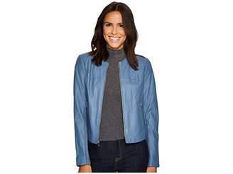 Via Spiga Round Neck Zip Front Leather Jacket Women's Coat