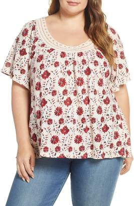 Lucky Brand Crochet Lace Trim Tee