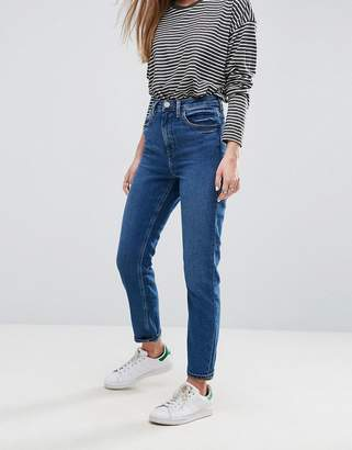 Asos DESIGN Farleigh high waist slim mom jeans in blossom dark wash