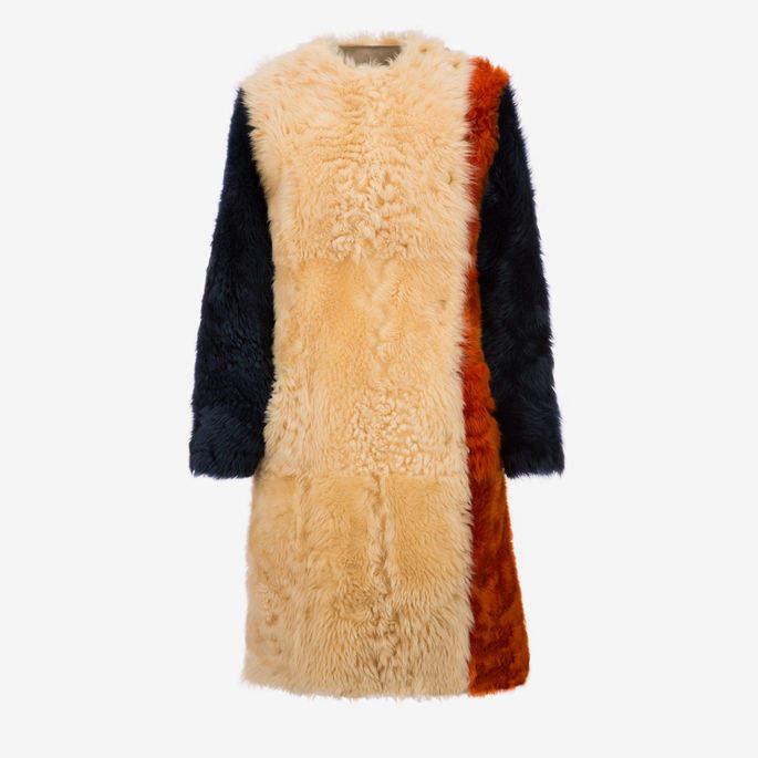 Colourblock Shearling Coat Multicolor, Women's lamb shearling coat in multi-bone