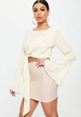 Missguided Cream Drape Long Tie Side Crop Top