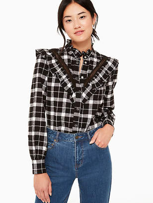 Kate Spade Rustic plaid flannel shirt