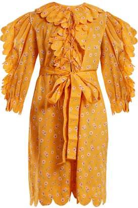 HORROR VACUI Daisy-print scallop ruffle-trimmed cotton dress