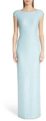 St. John Bateau Neck Glitter Gown