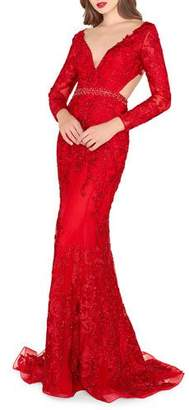 Mac Duggal Beaded Lace Applique Plunge-Neck Gown