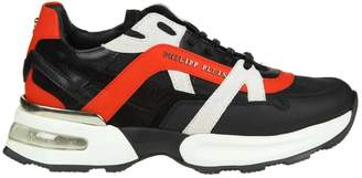 Philipp Plein Sneakers In Black Leather With Details Color Red And White