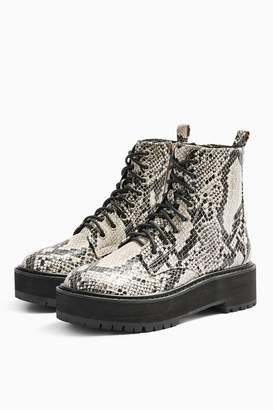 Topshop OSLO Snake Chunky Lace Up Boots