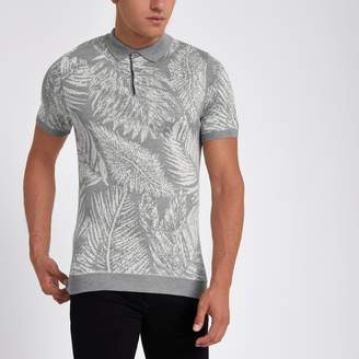 River Island Mens Grey palm print slim fit polo shirt