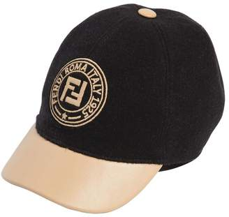 Fendi Wool Felt & Faux Leather Baseball Hat