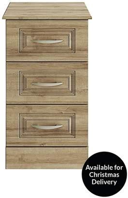 Consort Furniture Limited Dorchester Ready Assembled 3-Drawer Bedside Cabinet