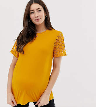 Asos DESIGN Maternity t-shirt with lace sleeve