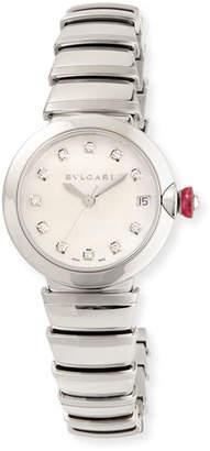 Bvlgari 33mm LVCEA Watch with Diamonds, Steel