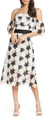 Sam Edelman Off the Shoulder Tricolor Lace Dress