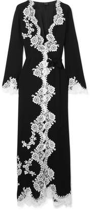 Carine Gilson Chantilly Lace-trimmed Silk-georgette Robe - Black