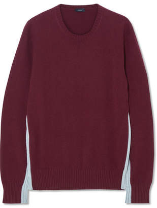 Joseph Paneled Two-tone Cashmere Sweater - Burgundy