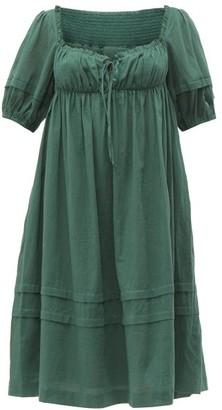Loup Charmant Ottranto Puff Sleeve Cotton Dress - Womens - Green