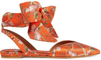 Tabitha Simmons + Johanna Ortiz Vera Printed Silk-satin And Crepe De Chine Point-toe Flats