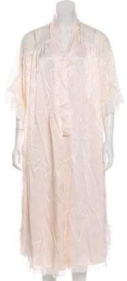 Christian Dior Lace-Accented Satin Robe