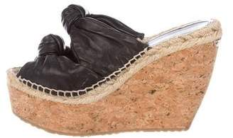Jimmy Choo Leather Peep-Toe Wedges