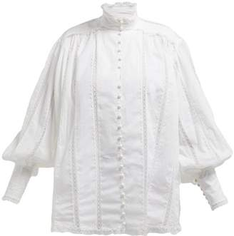 Zimmermann High Neck Lace Trimmed Cotton Blouse - Womens - White