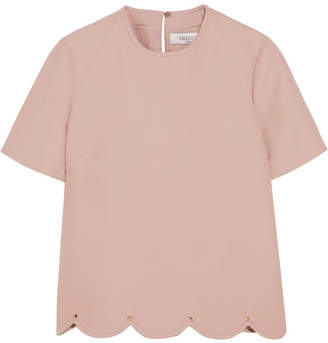 Valentino Embellished Wool And Silk-blend Crepe Top - Pastel pink