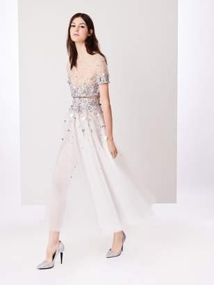 Oscar de la Renta Silver Dégradé Embroidered Tulle Tea-Length Skirt
