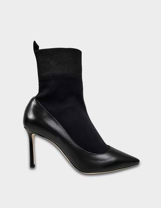Jimmy Choo Brandon Stretch Booties in Black Nappa Leather and Stretch Fabric