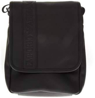 Emporio Armani Black Logo Faux Leather Shoulder Bag