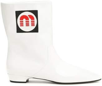 Miu Miu Booties With Logo Patch