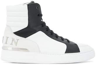 Philipp Plein contrast panel high top sneakers