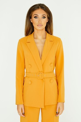 Girls On Film Studio Mouthy Mustard Double-Breasted Belted Blazer
