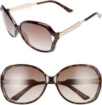 Gucci 60mm Open Temple Oval Sunglasses