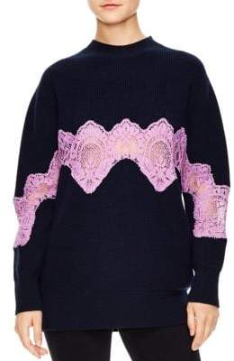Sandro Mystere Oversized Lace Trim Sweater