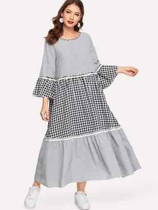 Shein Striped Plaid Bell Sleeve Dress