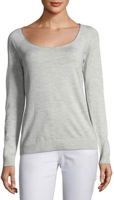 Lafayette 148 New York Skinny Scoop-Neck Silk-Blend Sweater
