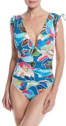LaBlanca La Blanca Go With The Floral Shirred One-Piece Swimsuit