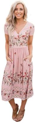 Silk Road Original Floral Print Faux Wrap Midi Dress610110