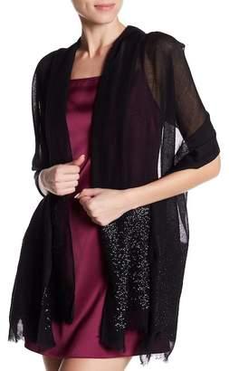 Saachi Black Embellished Border Wool Wrap