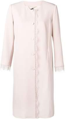 Blumarine lace-trim coat