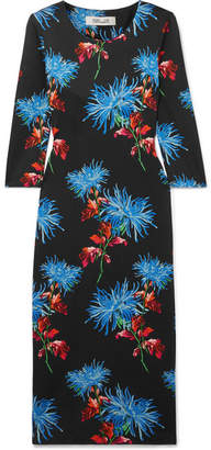 Diane von Furstenberg Saihana Floral-print Silk-jersey Midi Dress - Black