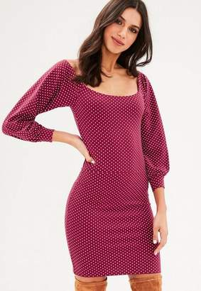 Missguided Burgundy Polka Dot Bodycon Dress
