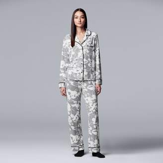 Vera Wang Petite Simply Vera Notch Collar Shirt, Pants & Socks Pajama Set
