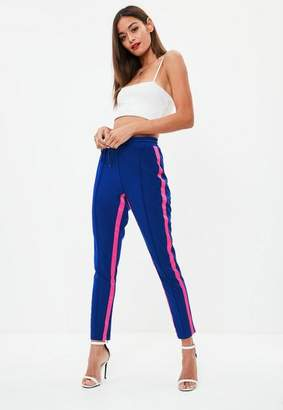 Missguided Blue Side Stripe Contrast Joggers